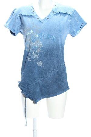 G-Star T-Shirt blau-wollweiß Blumenmuster Casual-Look