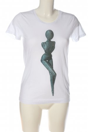 G-Star T-shirt biały-jasnoszary Nadruk z motywem W stylu casual