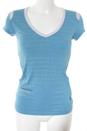 G-Star T-Shirt kornblumenblau Schriftzug gedruckt Logo-Applikation