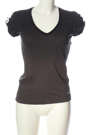 G-Star V-Neck Shirt brown-black striped pattern casual look