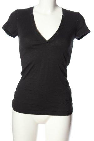 G-Star V-Ausschnitt-Shirt schwarz Casual-Look