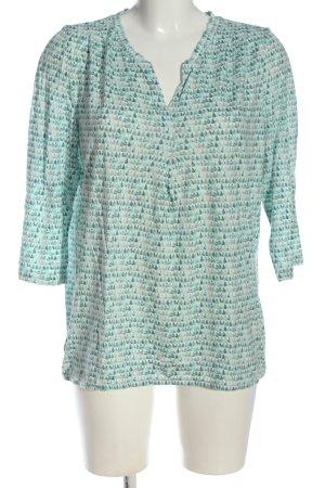 G.W. Top batik vert-blanc cassé motif abstrait style décontracté
