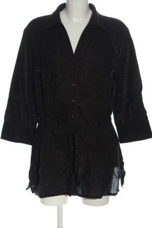 G.W. Blouse en lin noir style décontracté