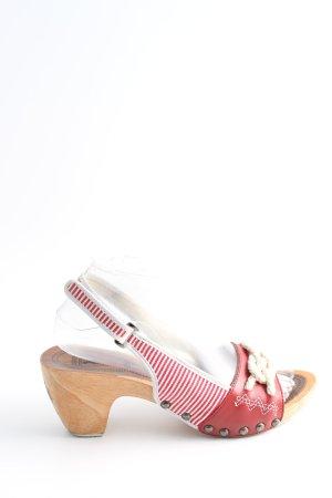 Gaastra Clog Sandalen rot-weiß Streifenmuster Casual-Look