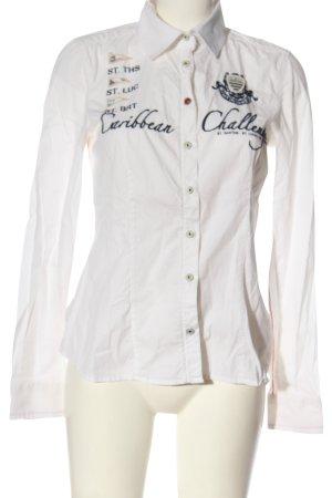 Gaastra Hemd-Bluse weiß-schwarz Schriftzug gedruckt Business-Look