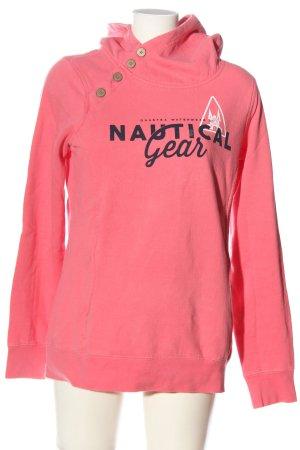 Gaastra Sweat à capuche rose lettrage imprimé style décontracté