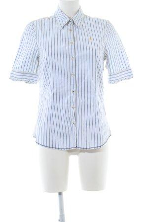 Gaastra Kurzarm-Bluse weiß-blau Streifenmuster Casual-Look
