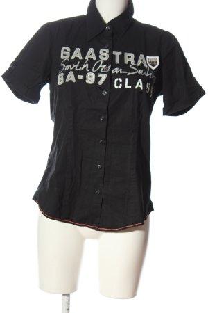 Gaastra Camicia a maniche corte nero-bianco caratteri stampati stile casual
