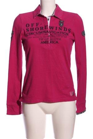 Gaastra Langarm-Bluse pink-schwarz Motivdruck Casual-Look