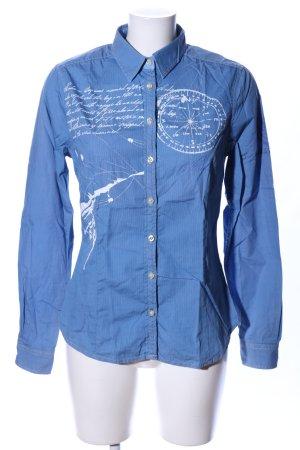 Gaastra Langarm-Bluse blau Motivdruck Casual-Look