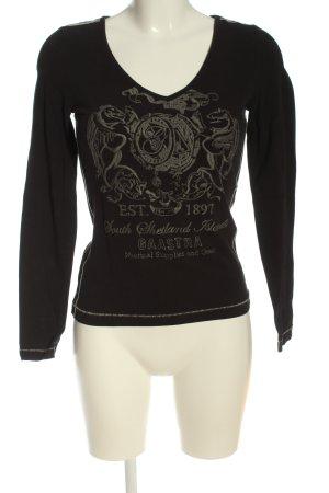 Gaastra Langarm-Bluse schwarz-hellgrau Motivdruck Casual-Look