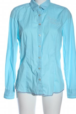 Gaastra Langarmhemd blau Schriftzug gestickt Casual-Look