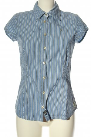 Gaastra Camisa de manga larga azul-blanco estampado a rayas look casual