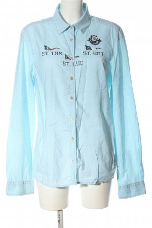 Gaastra Camisa de manga larga azul letras bordadas look casual