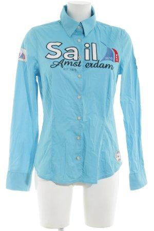 Gaastra Langarmhemd blau Schriftzug gedruckt Casual-Look