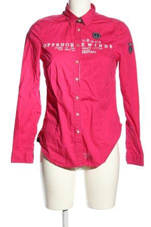 Gaastra Langarmhemd pink-weiß Schriftzug gestickt Casual-Look