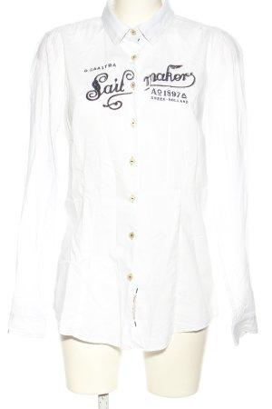 Gaastra Langarmhemd weiß-schwarz Schriftzug gedruckt Casual-Look