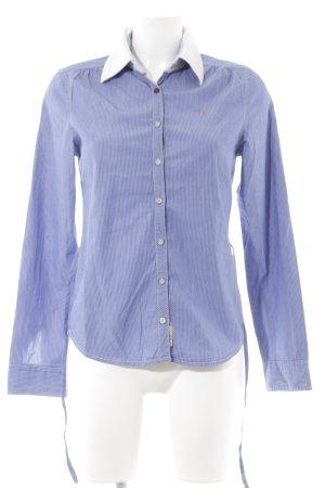 Gaastra Langarmhemd kornblumenblau-wollweiß Schriftzug gedruckt Business-Look