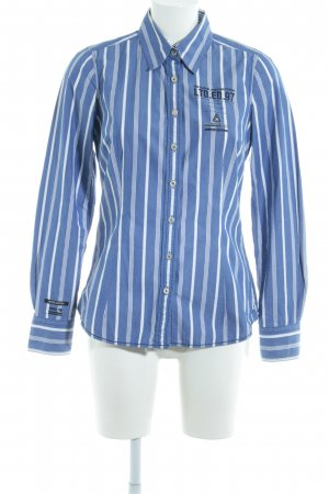 Gaastra Langarmhemd stahlblau-weiß Schriftzug gestickt Business-Look
