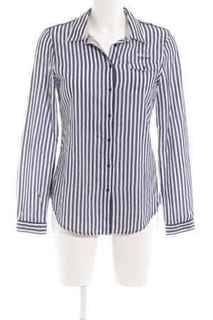 Gaastra Chemise à manches longues blanc-bleu foncé motif rayé