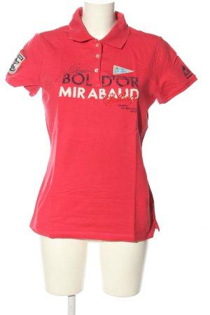 Gaastra Polo-Shirt pink-weiß Schriftzug gedruckt Casual-Look