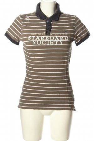 Gaastra Polo-Shirt braun-weiß Allover-Druck Casual-Look