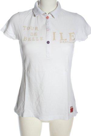 Gaastra Polo-Shirt weiß-creme Schriftzug gestickt Casual-Look