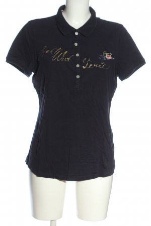 Gaastra Polo Shirt blue-gold-colored themed print casual look