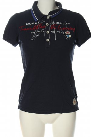 Gaastra Polo Shirt blue printed lettering casual look