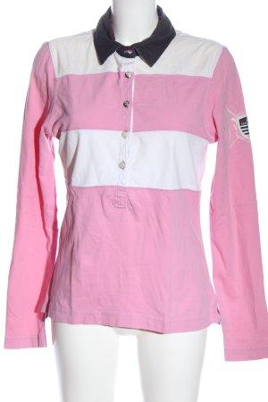 Gaastra Camiseta tipo polo rosa-blanco estampado a rayas elegante