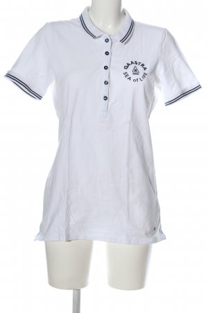 Gaastra Polo-Shirt weiß-schwarz Schriftzug gestickt Casual-Look