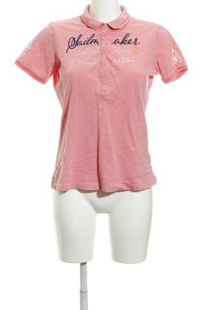 Gaastra Polo-Shirt pink Schriftzug gestickt Casual-Look