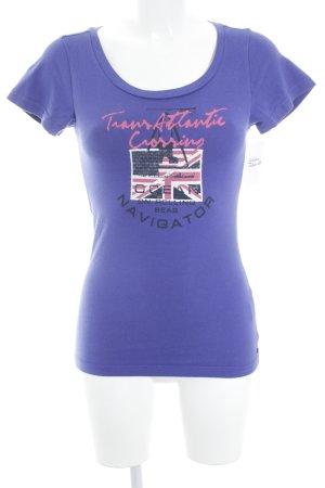 Gaastra T-Shirt pink-lila Schriftzug gedruckt Casual-Look