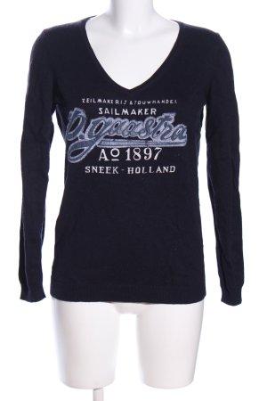 Gaastra V-Ausschnitt-Pullover schwarz Schriftzug gedruckt Casual-Look