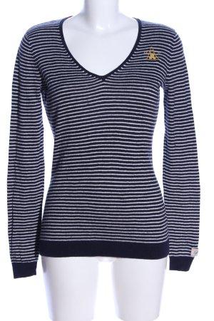 Gaastra V-Ausschnitt-Pullover blau-weiß Streifenmuster Casual-Look