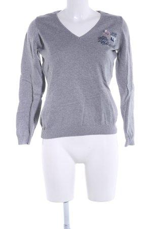 Gaastra V-Ausschnitt-Pullover hellgrau meliert Business-Look
