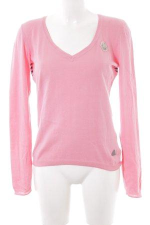 Gaastra V-Ausschnitt-Pullover pink-dunkelviolett Motivdruck Casual-Look