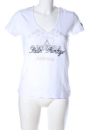 Gaastra T-shirt col en V blanc-noir lettrage imprimé style décontracté
