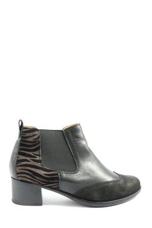 Gabor Ankle Boots schwarz-hellgrau Animalmuster Casual-Look