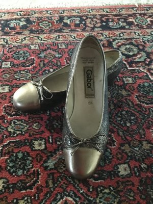 Gabor Ballerinas with Toecap grey brown-light grey leather