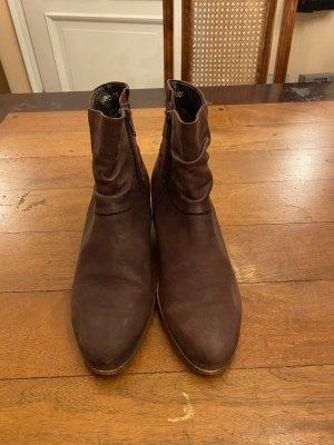 Gabor Booties aus Leder dunkelbraun Gr 37,5