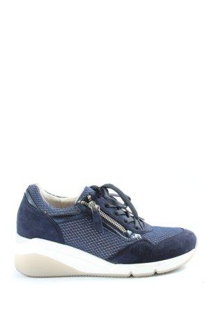 Gabor Comfort Sneakers met hak blauw volledige print casual uitstraling