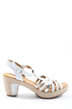 Gabor Comfort Platform High-Heeled Sandal silver-colored-natural white