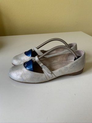 Gabor Mary Jane Ballerinas silver-colored leather