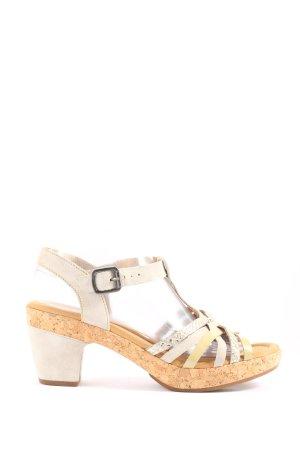 Gabor High Heel Sandaletten wollweiß-goldfarben Casual-Look
