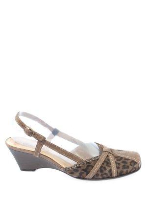 Gabor Zapatos de cuña marrón-negro estampado de leopardo elegante