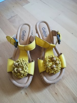 Gabor T-Strap Sandals yellow-sand brown leather