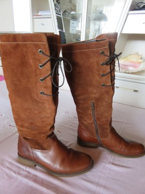 Gabor Wide Calf Boots brown leather