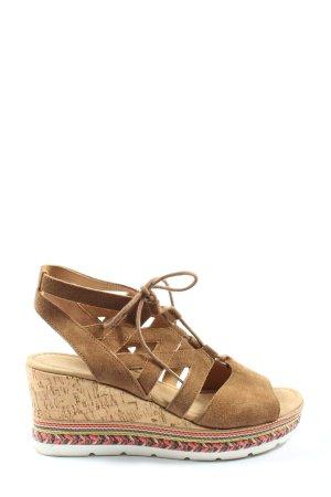 Gabor Wedge Sandals brown-cream casual look