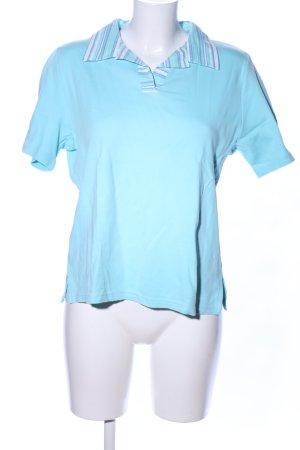 Gabriele Schaawe Polo-Shirt blau-weiß Streifenmuster Casual-Look